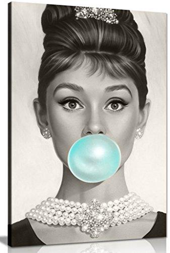 Audrey Hepburn Kunstdruck Leinwanddruck Bubblegum Blau, blau, A1 76x51 cm (30x20in)