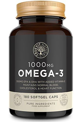 Omega 3 Kapseln Hochdosiert 1000 mg - 180 Softgel Fischölkapseln (für 6 Monate) mit hochkonzentriertem EPA & DHA - reines Omega 3 Fischöl von TrueVit Naturals