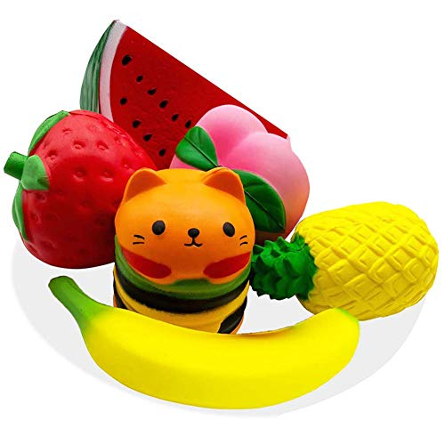Juguetes Squishy - Squeeze Juguetes Squishys Kawaii Squishys Jumbo Perfumado Slow Rising Lindo Grande Lenta Creciente Fruta Stress Reliever Toys para Niños Adultos 7PCS