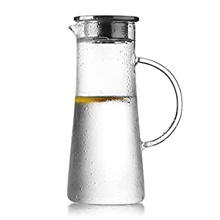 AsentechUK® 1.5L Transparent Heat-resistant Glass Beverage Pitcher Water Bottle Coffee Pot Juice Jug