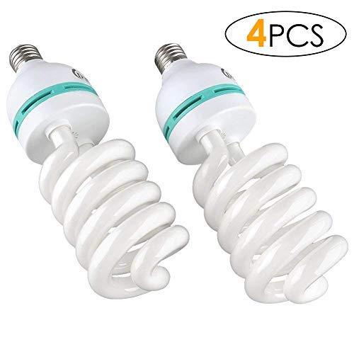 DECKEY 4x135W 5500K 22OV Fotolampe CFL Tageslichtlampe Wärme Spirallampe E27 Birne für Fotografie Fotostudio Studiobeleuchtung