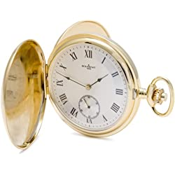Bouverat 1919 Double Opening Polished Case Full Hunter Mechanical Roman Pocket Watch with Silver Dial BV822101
