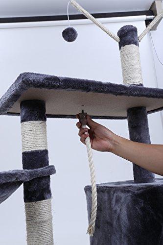 Arbre à chat très solide avec hamac - Arbre à chat gris foncé 134cm
