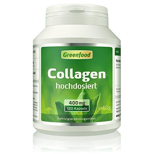 Greenfood Collagen, 400 mg, hochdosiert, 120 Kapseln – reduziert die Faltenbildung, erhöht den Feuchtigkeitsgehalt der Haut. OHNE künstliche Zusätze, ohne Gentechnik.
