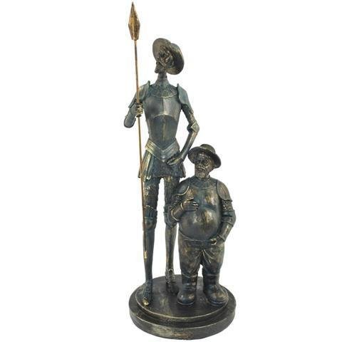 Decorative Figure 'Don Quixote and Sancho Panza' Resin Sculptures. 35 x 13.5 x 13.5 cm.