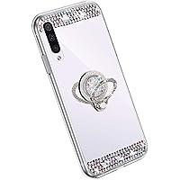 YSIMEE Compatible con Fundas Samsung Galaxy A70 Carcasa Xmas Decoración Espejo Glitter Brillante Diamond Suave TPU Rotación Anillo Dedo Metal Grip Ultra Fino Delgado Anti-Choque Case,Plata