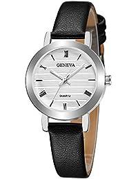 Darringls_Reloj Geneva,Relojes de Mujer Relojes Mujer Dorados Reloj de Cuarzo Faux cronógrafo Plateado con