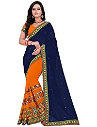 Riva Designer Half And Half Navy Blue And Orange Color Saree With Blouse