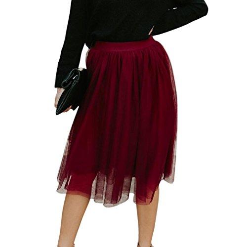 Rock Damen Kolylong® Frauen Elegant Hohe Taille Tüllrock Vintage Tutu Rock A-Linie Faltenrock Petticoat Reifrock Elastic Bund Tutu Unterrock Tanzen Röcke Party Abendrock Fasching (XL, Rot)