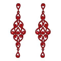 Idea Regalo - EVER FAITH Orecchini donna Cristallo Bohemia Vuoto-fuori Lampadario a goccia Orecchini pendenti Colore rubino Rosso-fondo