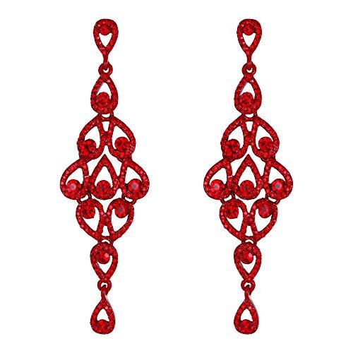 EVER FAITH Orecchini donna Cristallo Bohemia Vuoto-fuori lacrima Lampadario Orecchini pendente Colore rubino Rosso-fondo