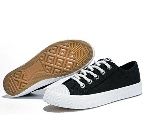 SHFANG Dame Schuhe Einfache klassische flache Unterseite Segeltuch-Schuh-Kursteilnehmer-Schule tägliche bequeme Freizeit drei Farben Black