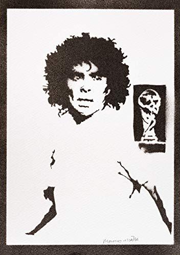 Maradona Poster Plakat Handmade Graffiti Street Art - Artwork