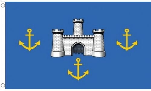 Flagmania® Isle of Wight Old (Burgen) County (5ft x3ft (150cm x 90cm) Flagge + 59mm Button