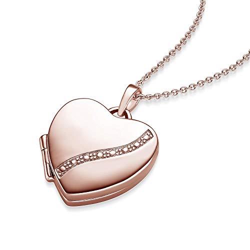 Herz Medaillon * Geschenk Freundin * Herzkette Foto Rosegold vergoldet * GRATIS Luxusetui Herz Anhänger zum Öffnen mit Kette inkl. GRATIS Luxusetui + - Herz Amulett FF03 VGRS45