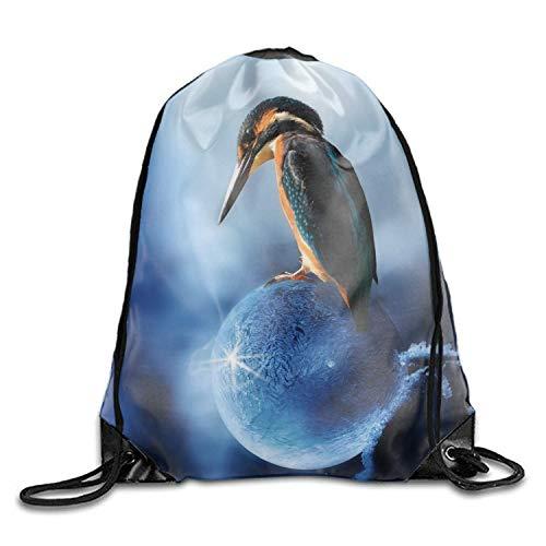 g Backpack Bird On Ballon Sports Gym Waterproof String Bag Cinch Sack Sackpack Gymsack ()