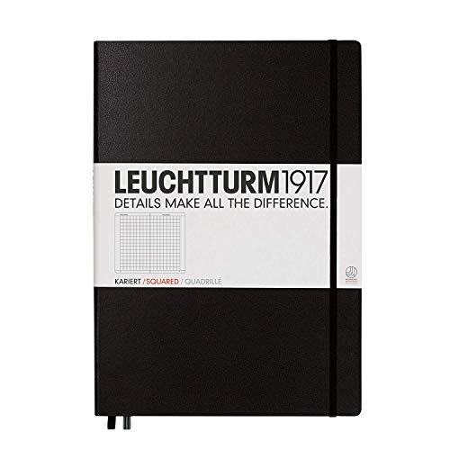 LEUCHTTURM1917 307959 Notizbuch Master Classic (A4+), Hardcover, 233 nummerierte Seiten, Schwarz, kariert