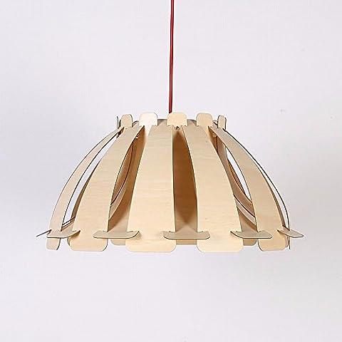 HENGXin @ Mantello Creative lampadario appeso in legno lampada LED moderni soffitto in legno Ciondolo lampada luce ombra semplice ragazzino Cucina Camera da letto soggiorno sala da pranzo Droplight (log)
