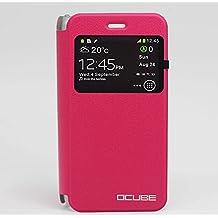 Prevoa ® 丨Ulefone Paris / Ulefone Paris X Funda - Original Flip PU S- View Protictive Funda Case para Ulefone Paris / Ulefone Paris X 5.0 Pulgada 4G Android 5.1 Smartphone - Rojo