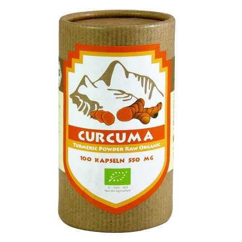 100% reine BIO Kurkuma Pulver in Kapseln 100 Stück a 550mg - Biologisches Curcuma Pulver wird durch schonendes Vermahlen der Wurzeln gewonnen. Curcuma (Curcuma longa)