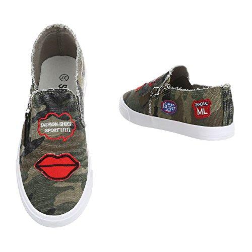 Ital-Design , chaussons dintérieur femme Khaki R55-4
