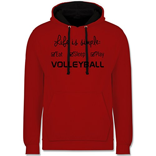 Volleyball - Life is simple Volleyball - Kontrast Hoodie Rot/Schwarz
