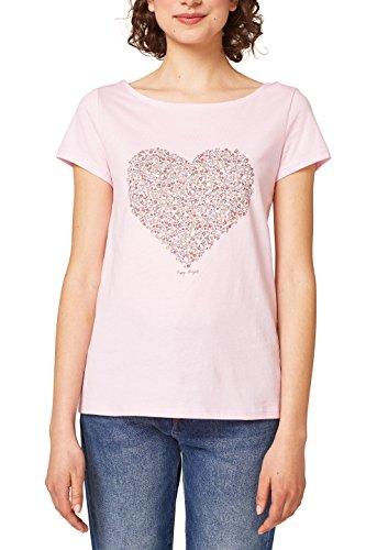 edc by ESPRIT Damen T-Shirt 048CC1K116, Rosa (Pastel Pink 695), XX-Large