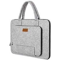 """Ropch 17 17.3 Pouces Housse Ordinateur Portable Laptop Sleeve Case Sacoche Poche Etui Pochette avec Poignée pour 17.3"""" Acer / Asus / Dell / HP / Lenovo - Gris & Noir"""