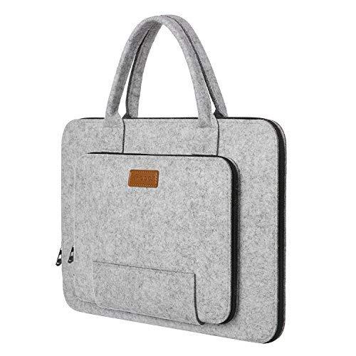 Ropch Laptoptasche 17,3 Zoll (43,9cm) Filz Notebooktasche Laptop Hülle Schutzhülle Tasche Schutzabdeckung mit Griff für Acer / Dell / HP / Lenovo - Grau & Schwarz