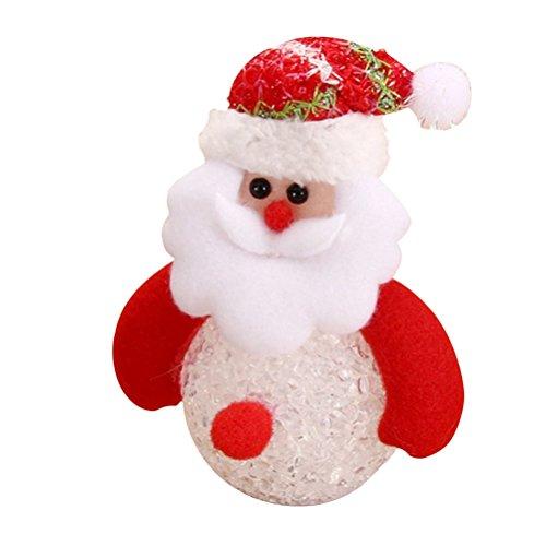 OULII Weihnachtsmann Kugeln Figur LED Nikolaus Baumschmuck Christbaumanhänger Weihnachtskugeln Hängende Dekoration