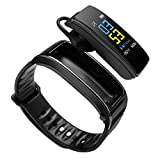 Hozora Smart Armband Bluetooth Kopfhörer 2 in 1, Fitness Tracker TalkBand Armband mit Calling Audio Player Kopfhörer Herzfrequenz Kalorien Schrittzähler Distanz (Schwarz)