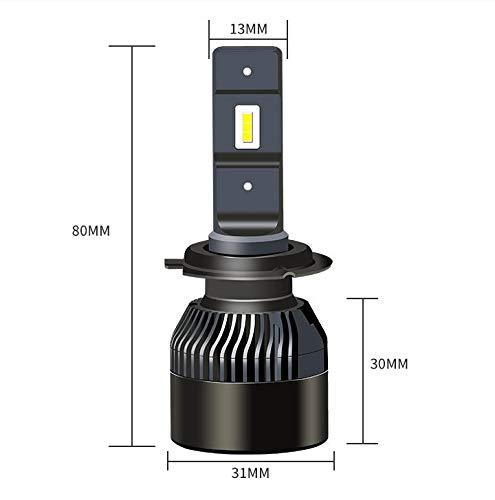 J&J Kit pour phares de voiture, 72 W, LED V3, 12 000 lm, 6000 K, blanc, feux de croisement ou de route, modèle 6000K H1 H7 H4 H11 bague d'adaptation amovible H7