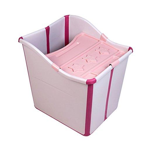 Badewannen Plastikeimer der Haushaltskinder dicker zu sitzen Babybadewanne Babybadewanne die 45 * 55 * 47cm faltet (Color : Pink) (Falt-wand-sitz)
