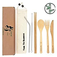 Bamboo Cutlery Set  Reusable Travel Cutlery Set   Eco Friendly Flatware Set   Knife, Fork, Spoon and Straw  Wooden Cutlery Set   Organic Cutlery Set with Travel Pouch  Time To BambooTM