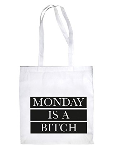 Monday is a Bitch Jutebeutel White