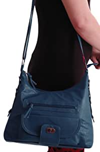 EyeCatch Brand Calista Faux Leather Ladies Shoulder Bag Petrol