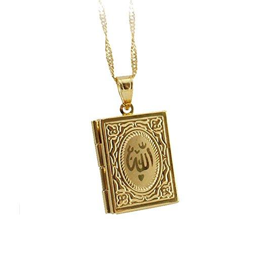 Collar colgante medallón amuleto coránicas Corán de oro chapado en oro