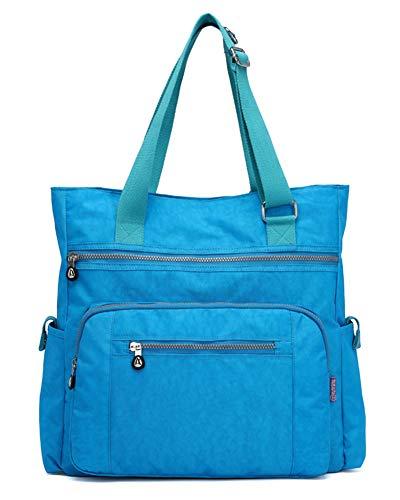 Große Wickeltasche für Babywindel, Lässige Tragetasche Nylon Gepäcktasche Längenverstellbarer Schultergurt Himmel Blau