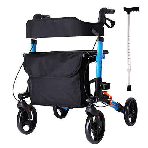 GLJY Rollator-Gehhilfe, Gehhilfe mit Korb und Tablett, höhenverstellbar, Sitz für eingeschränkte Mobilität (Gehstock)