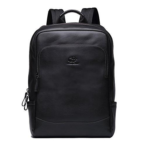 BISON DENIM 14 Zoll Laptop Rucksack Backpack Lederrucksack Schulrucksack für Arbeit Campus Studenten Outdoor Reisen Wandern mit Großer Kapazität (Schwarz-N2758)