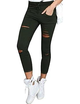 Coversolate Mujer Cintura alta Pantalones ajustados Tramo Delgado Pantalones Lápiz (L, ejercito verde)