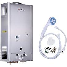 iglobalbuy 18L Gas GLP calentador instantáneo caliente calentador de agua calentador de agua con alcachofa de
