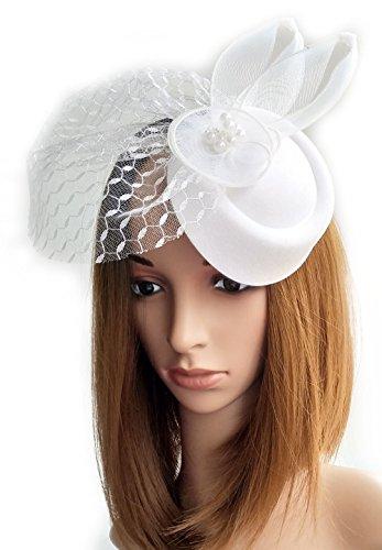 Frauen Fascinator Blumen Ohr Hut Mesh Schleier Pillbox Wolle Filz Haar Clip (Weißer Hut Mit Rosa Schleier Mini)