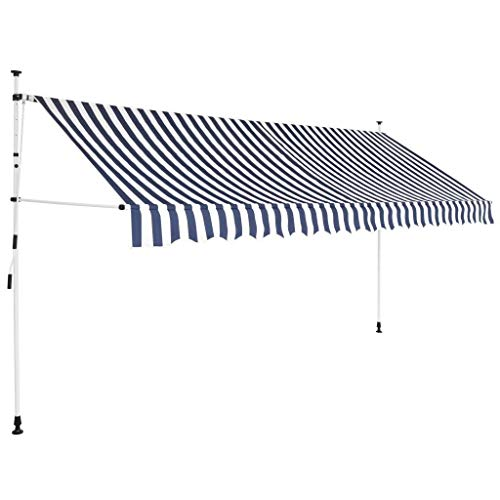 WT Trade Premium Klemmmarkise Einziehbare Markise mit Handkurbel | 100% UV-beständig | Balkon Beschattung Sonnenschutz ohne Bohren | Balkonschirm Manuell höhenverstellbar (400 cm, Blau und Weiß)