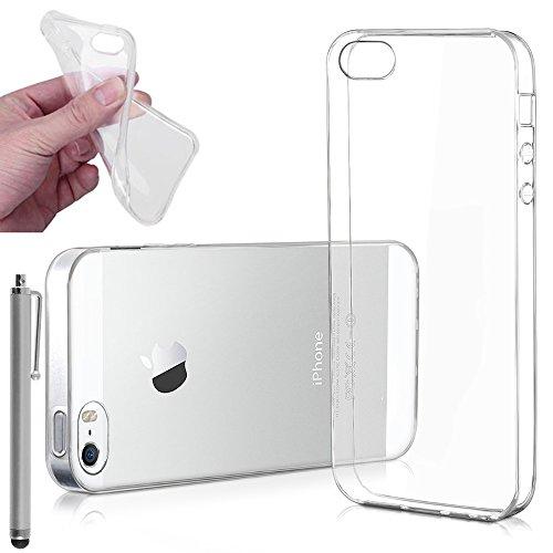 VCOMP® Ultra dünne Silikon Handy Schutzhülle für Apple iPhone 5/ 5S/ SE + Mini Eingabestift - TRANSPARENT TRANSPARENT + Großer Eingabestift