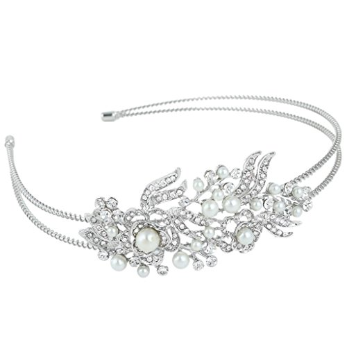 EVER FAITH Crystal Gatsby Inspired Ivory Color Simulated Pearl Hair Band Accessory - Clear N04447-1