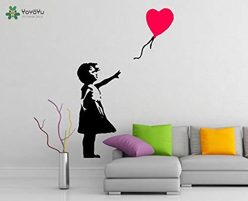 Wandtattoo Vinyl Kunst Wanddekoration Banksy Mädchen mit Herz Ballon Street Graffiti Removeable Poster Wandbild 57X88cm