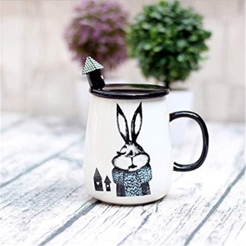 r kreativen Karikatur mit Deckelpersönlichkeitsschalen-Kaffeetasse-Becherblau ()