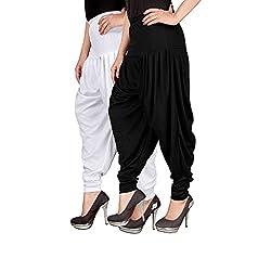 Navyataa Womens Lycra Dhoti Pants For Women Patiyala Dhoti Lycra Salwar Free Size (Pack Of 2) White & Black