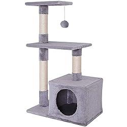 Dibea - Arbre à chat avec griffoir / centre d'activités - Gris clair